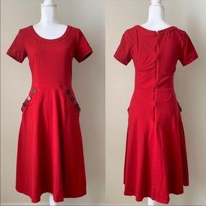 Eshakti short sleeve fit n flare red dress